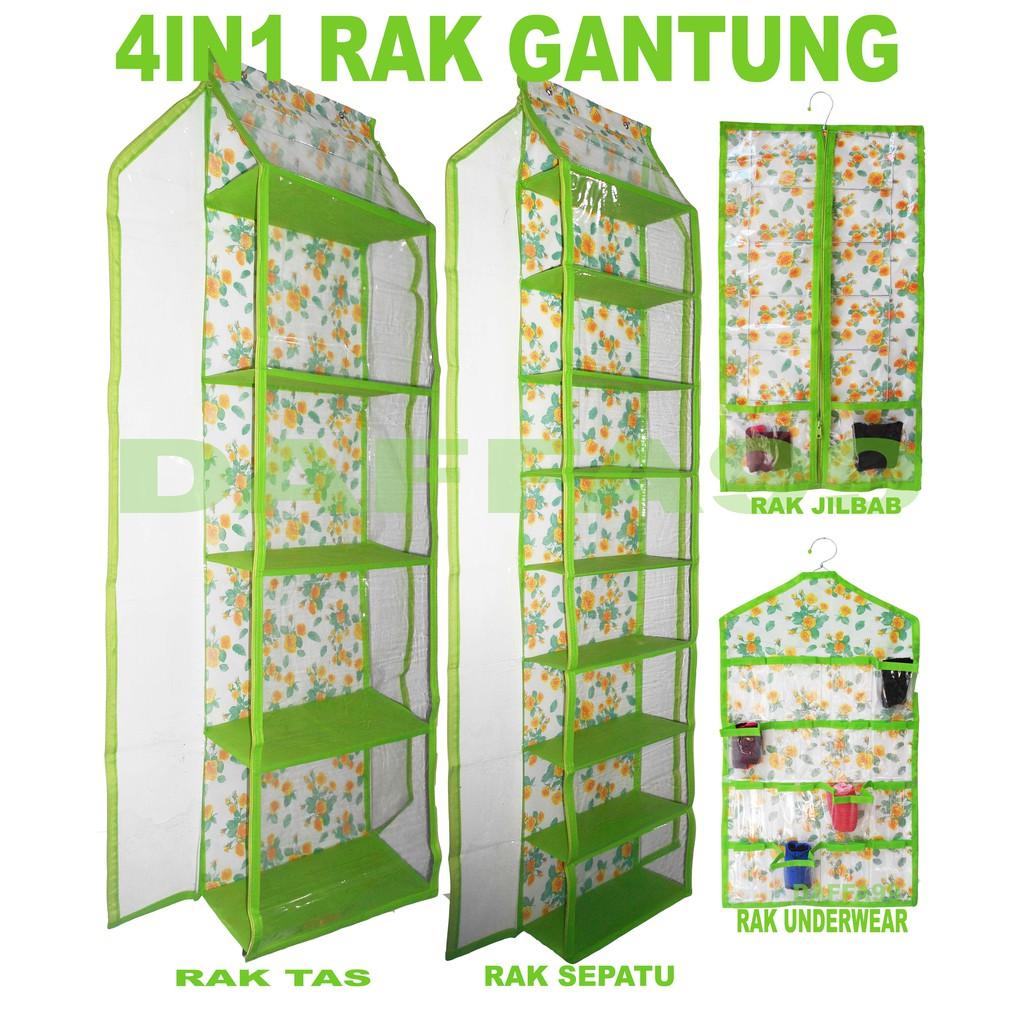 Promo Rak Gantung 4 In 1 Organizer Karakter Tas Sepatu Set 3 Jilbab Hbo Hso Hjo Resleting Shopee Indonesia