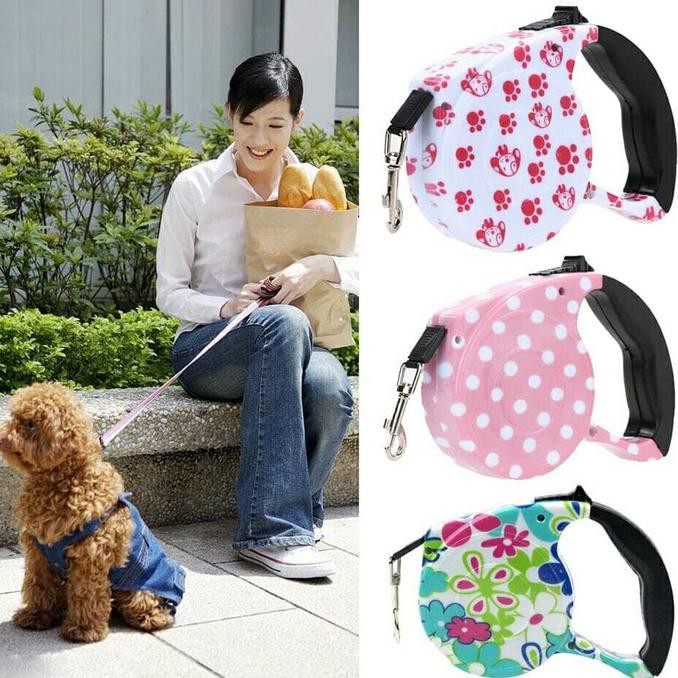 Tali Anjing 5m Pet Automatic Retractable Rope Dog Cat Adjustable Leash Strap OS688 | Shopee Indonesia