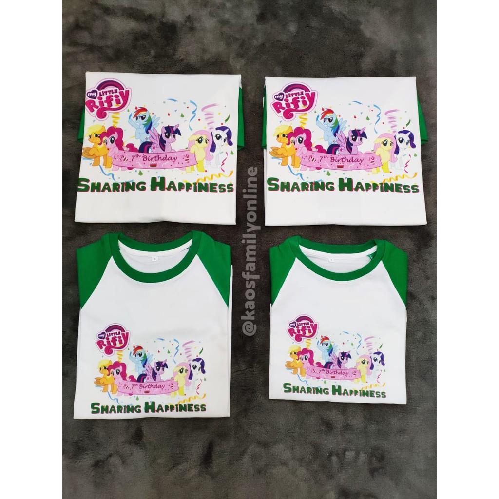 Baju Kaos Raglan Keluarga Family Couple Gathering Request Nama Custom Termurah Little Pony