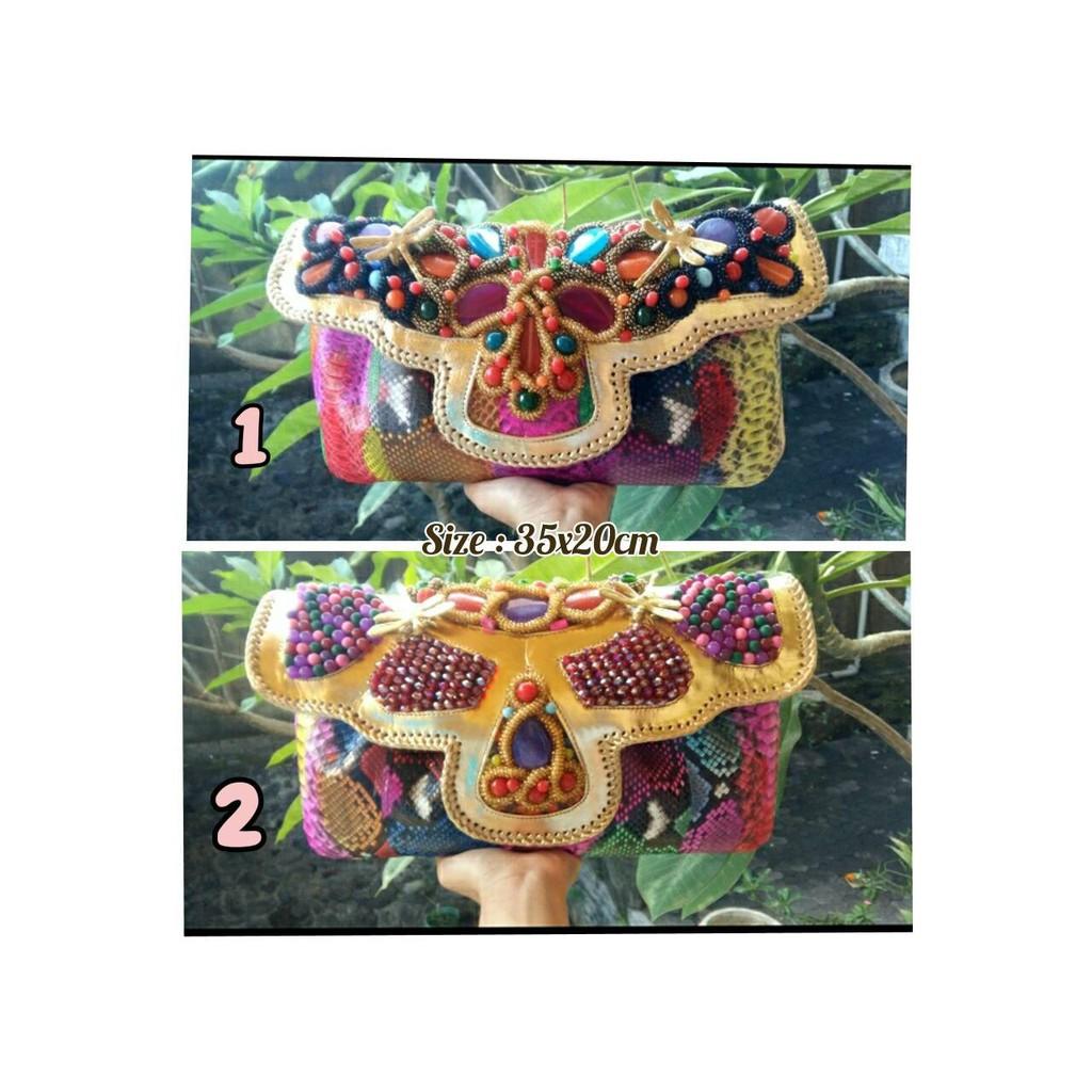 Raisa Size M Multi Color - Tas Clutch Kulit Ular Buat Pesta Dengan Model  Kipas  19a8932595