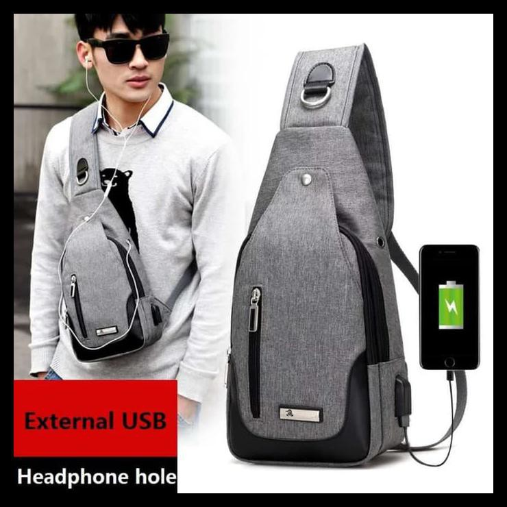Promo Tas Slempang / Selempang Anti Air Kanvas Spen Usb Sling Bag Canvas Vr2 - Hitam Best Seller !!!