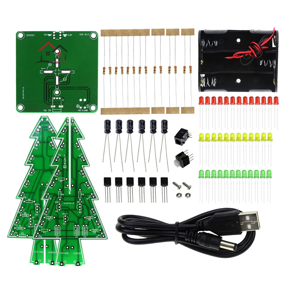 2PCS Christmas Tree Flashing Light LED Circuit 7 Colors Green Red Yellow Xmas