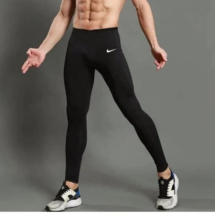 Celana Legging Pria Nike Sport Gym Fitnes Hitam Logo Nike Standar 28 32 Shopee Indonesia