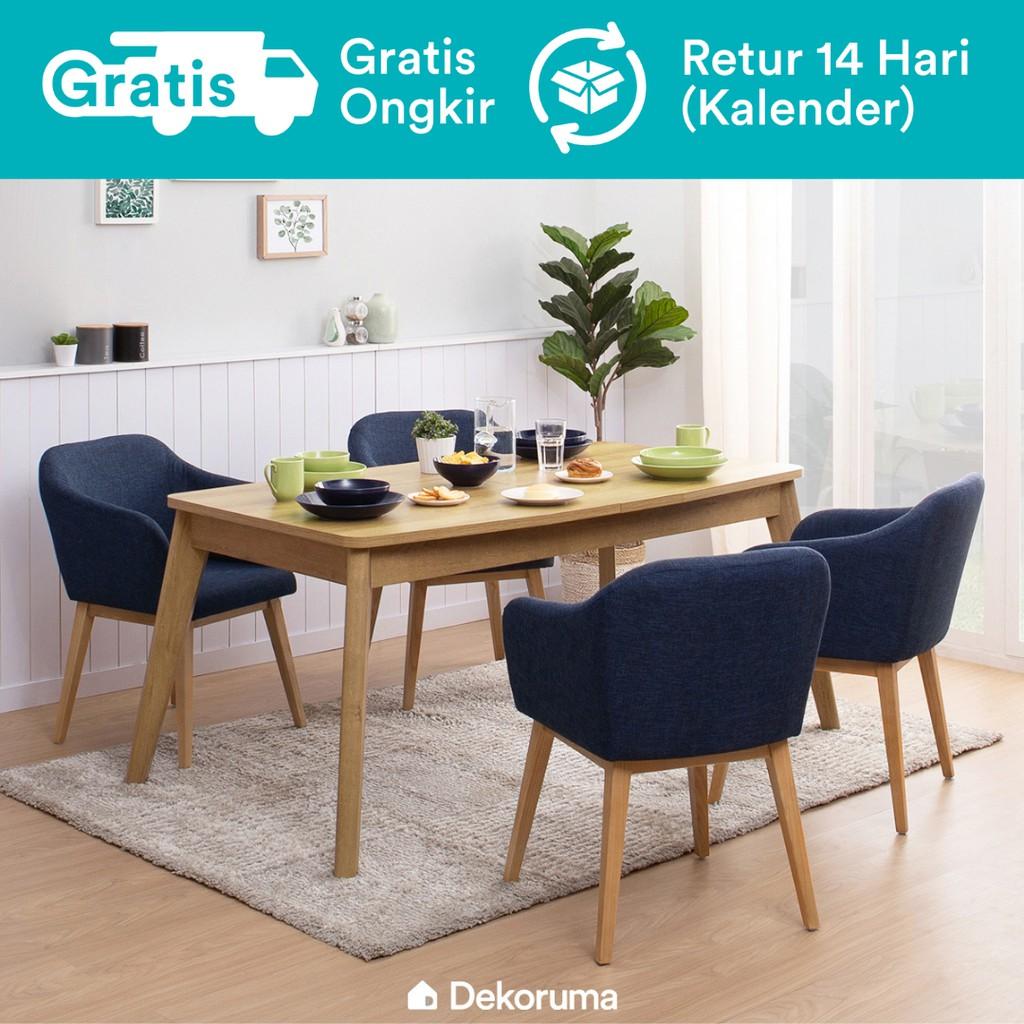 Dekoruma Set Meja Makan Minimalis 4 Kursi Setsu Extendable Dining Table 4 Fuji Kursi Makan Biru Shopee Indonesia