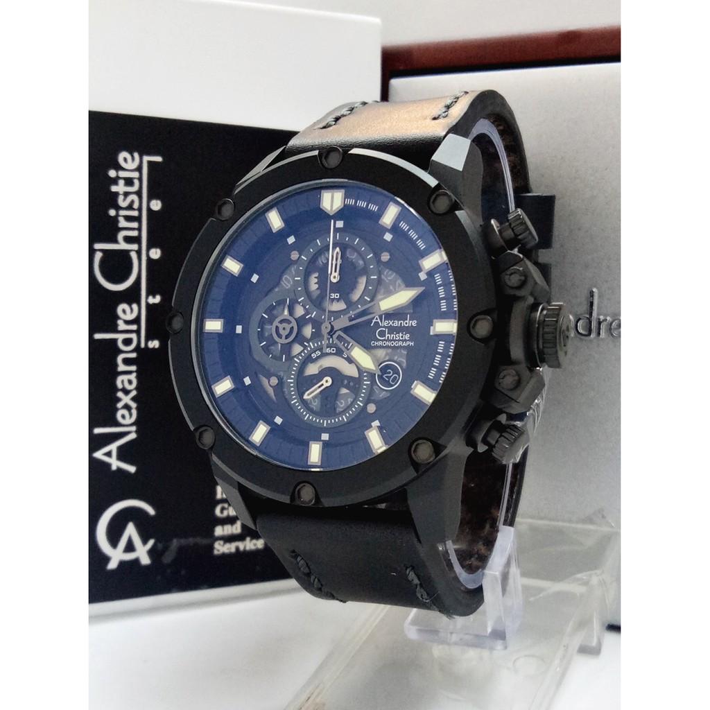 Alexandre Christie Ac 3030 Man Full Black Leather Ori Shopee Jam Tangan Pria Ac9221 Original Limited Edition Indonesia