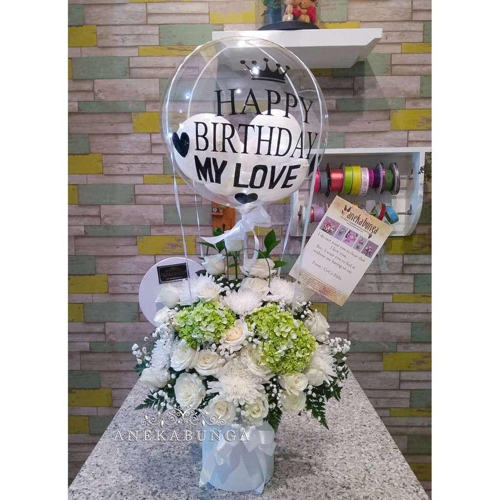 Balon Bunga Asli Ucapan Baloon Fresh Flower Ulang Tahun Wedding Anniversary Birthday Baloon Ultah Shopee Indonesia