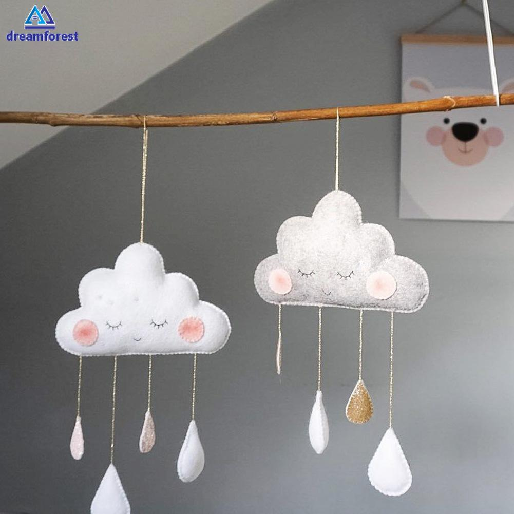 Dr Cute Felt Cloud Decoration Baby Room Wall Hanging Nordic Smiles Raindrop Cloud Bedding Room Tent Decor Baby Shopee Indonesia