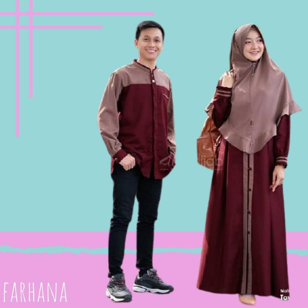 [COD] Baju Couple Muslim Set Gamis Koko Pasangan suami Istri Sarimbit  Keluarga Pesta Kondangan Farha