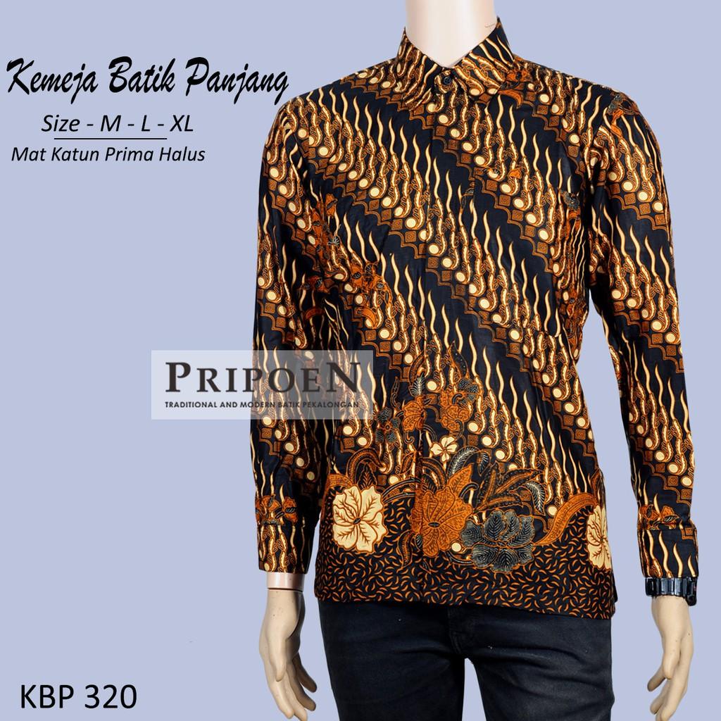 Pripoen Batik KBP320 - KEMEJA BATIK PRIA LENGAN PANJANG MOTIF PARANG  COKALAT  a9fbafa38c