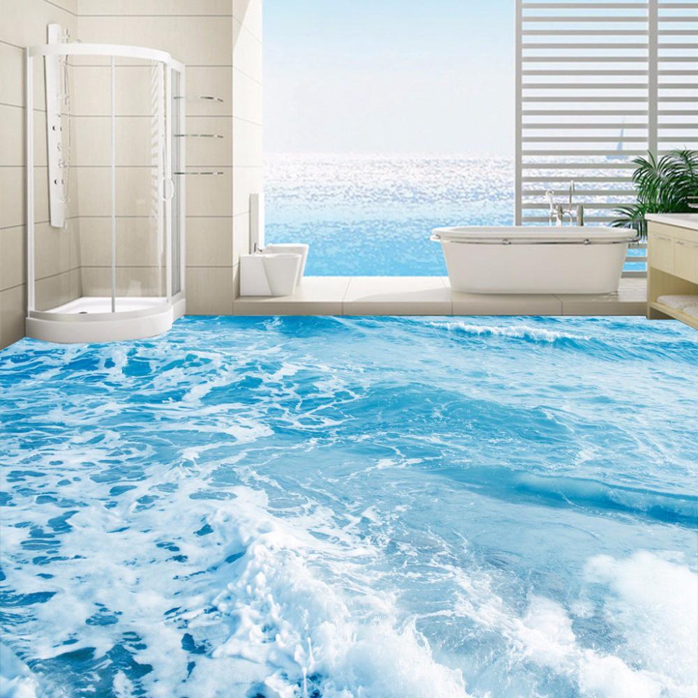 PROMO Kustom 3D Lantai Mural Wallpaper Laut Gelombang Air Floor Stiker Lukisan Pakaian Non Slip