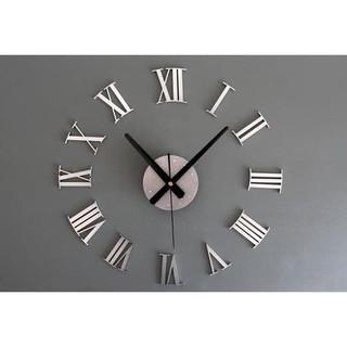Jual Jam Dinding Besar Raksasa Angka Romawi 3D Giant Wall Clock Diy 60Cm -  Perak Berkualitas 126b5ab41f