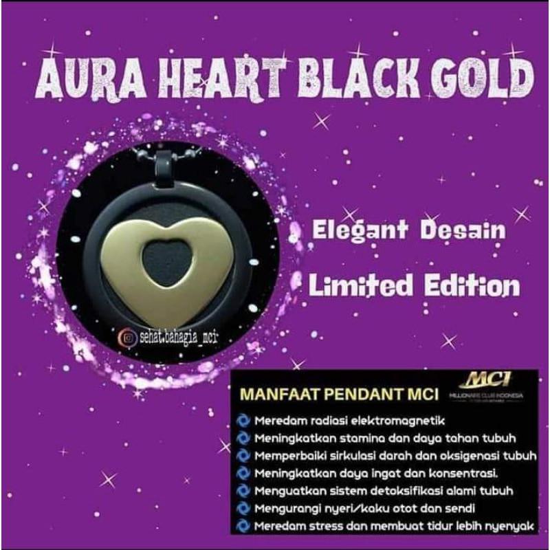 kalung Aura Heart Black Gold | Kalung kesehatan MCI | kalung anti radiasi dijamin 100%