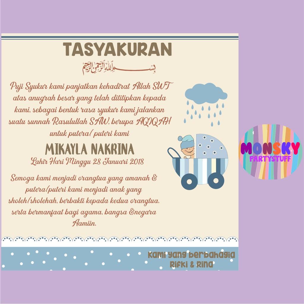 Kartu Lahiran Kartu Ucapan Aqiqah Akikah Syukuran Tasyakuran Khitanan Custom Shopee Indonesia