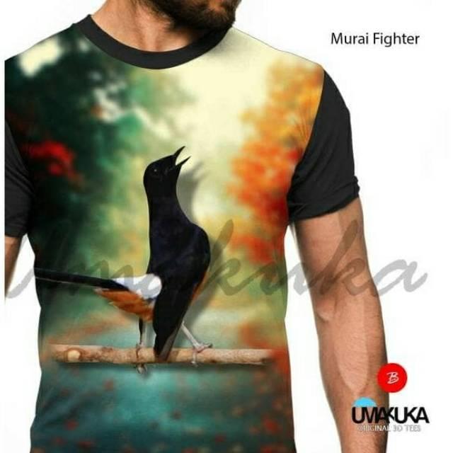 Kaos motif burung Murai Medan Scream distro murah kicau mania ootd keren Umakuka 3d PO | Shopee Indonesia