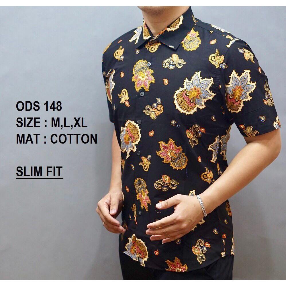 Baju Batik Pria Kemeja Batik Model Terbaru Hem Modern Pria Baju Pendek Slim Fit
