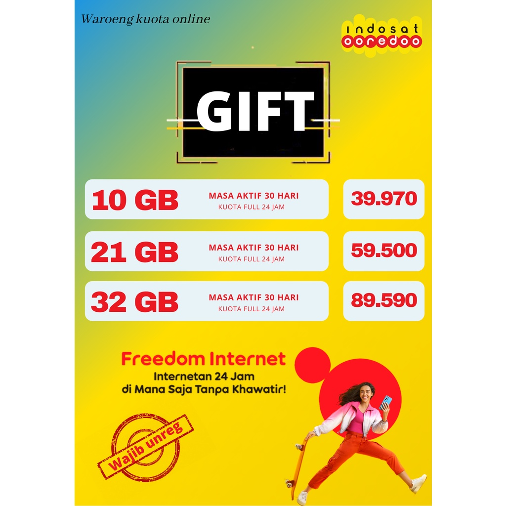 paket Data GIFT INDOSAT FREEDOM INTERNET 10GB, 21GB, 32GB im3