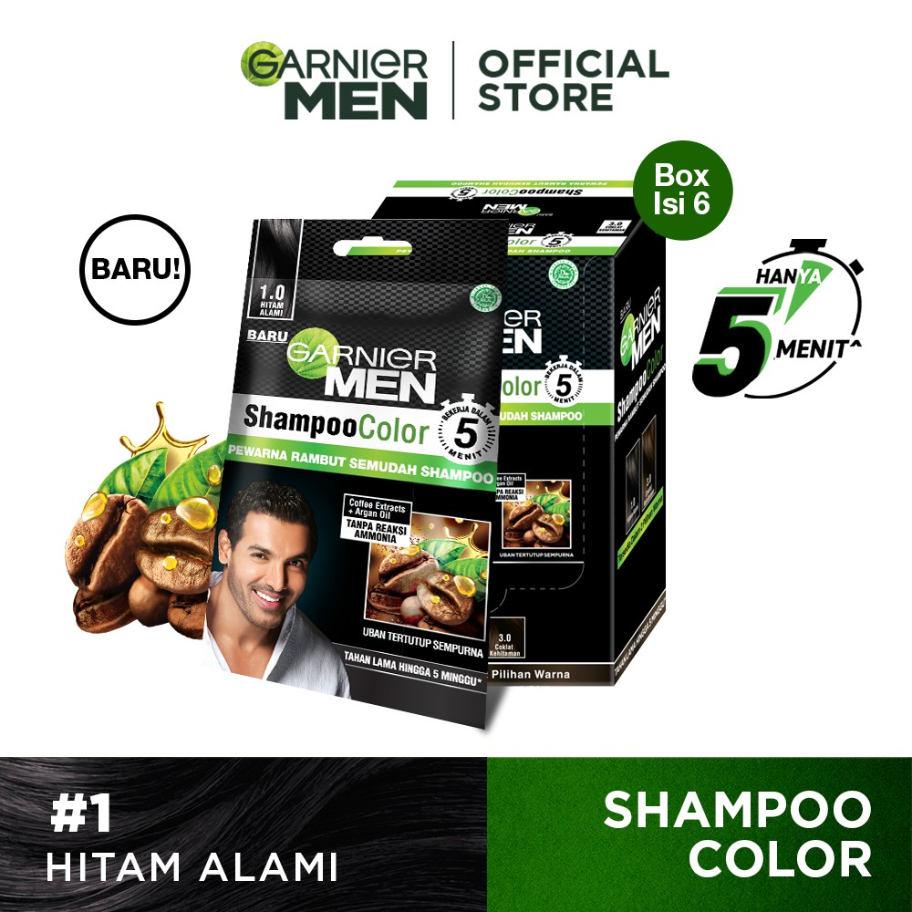 Garnier Men Shampoo Color (Pewarna Rambut Pria Semudah Shampoo)-Black Pack of 6