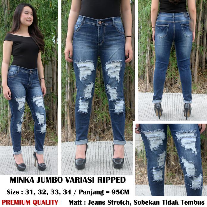 Promo Celana Jeans Jumbo Wanita Ruby Ripped Jeans Bigsize Diskon   Shopee Indonesia