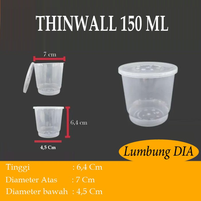 Cup merpati 150 ml / cup puding 150 ml / thinwall 150 ml isi 25 pcs