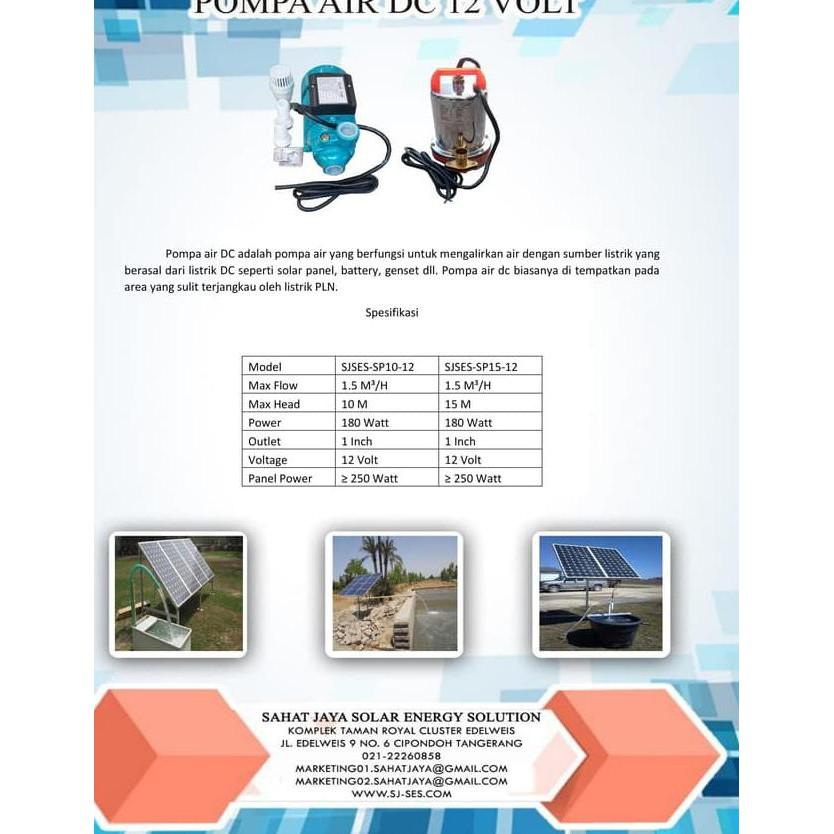 Dl Pompa Air Tenaga Surya Pompa Air Dc 12 Volt Kedalaman 10 Meter Shopee Indonesia