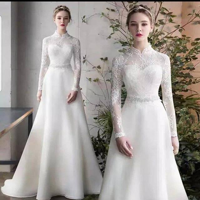 Baju Pengantin Lengan Panjang Dress Pengantin Simple Gaun Wedding Lace Gaun Pengantin Hijab