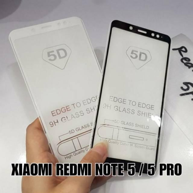 Tempered Glass Warna 5D Xiaomi Redmi Note 5 Pro Anti Gores Kaca Warna Full Redminote 5 pro   Shopee Indonesia