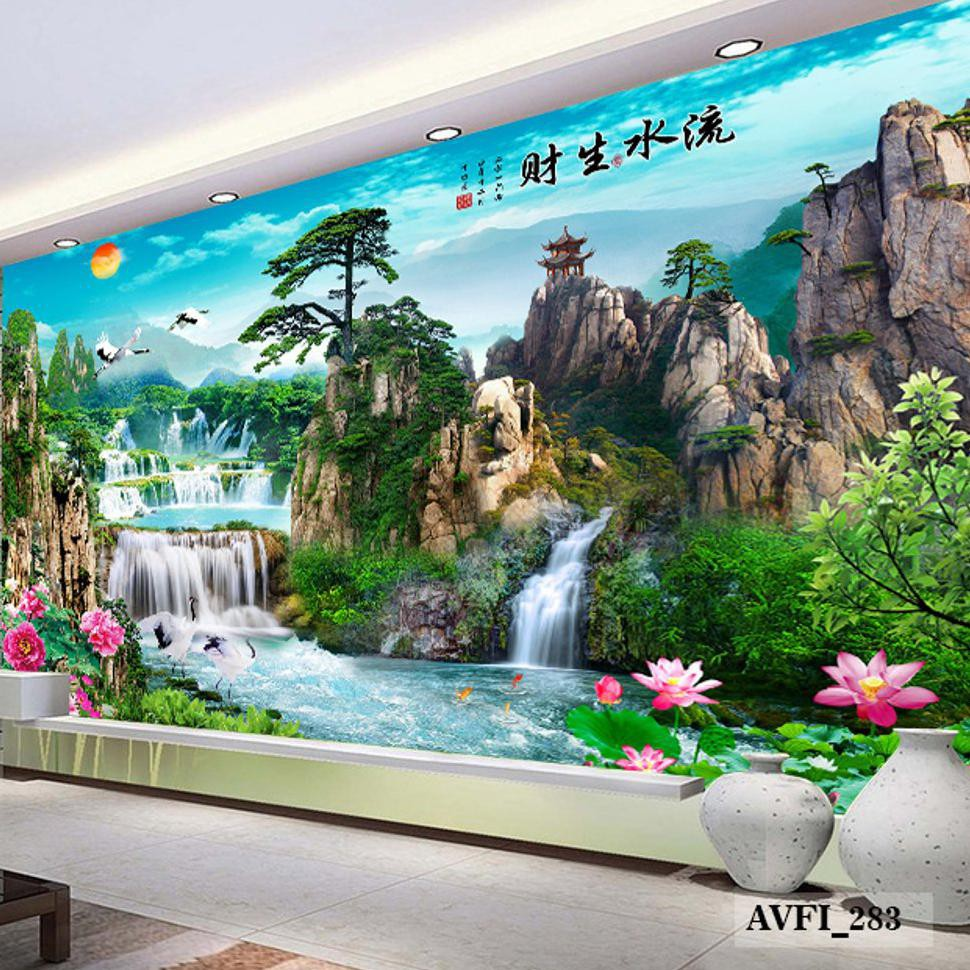 NEW Wallpaper Dinding Custom 3D Air Terjun Wallpaper Custom Air Terjun Murah