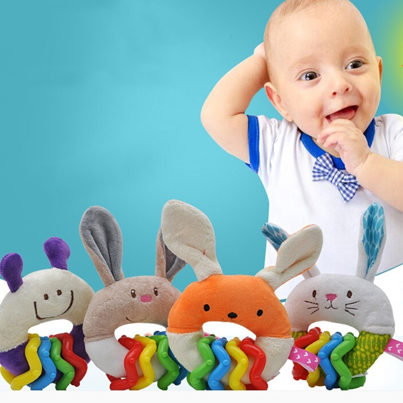 Baby Cartoon Rabbit Plush Rattle Ring Bell Newborn Hand Grasp Soft Toys L