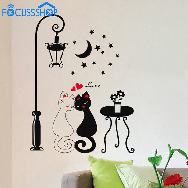 Diy Couple Cats Street Lamp Mural Wall Stickers Decals Bedroom Home Decor Shopee Indonesia