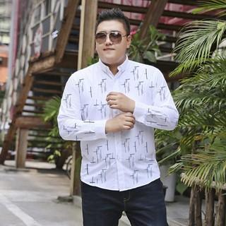 Kemeja Lengan Panjang Jumbo Size | Cozy Line | Baju Atasan Pria BIGSIZE XXL XXXL Motif Putih Navy