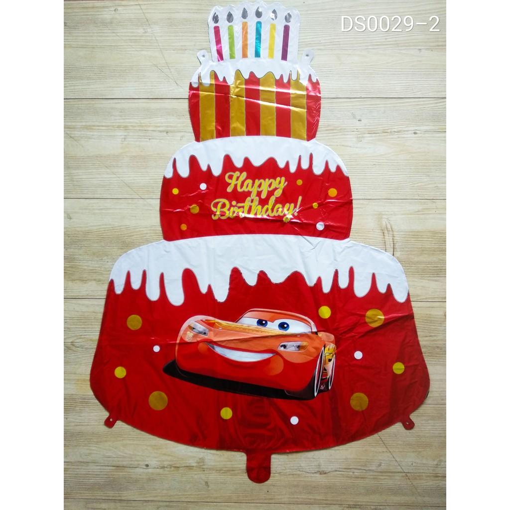 Balon Kue Ulang Tahun Cake Happy Birthday Lightning Mcqueen Cars Mobil Kartun Merah