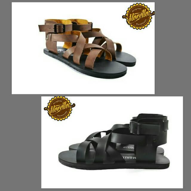 Morello - Yunan Black   Brown Sandal Pria Kasual Sandal Jepit Pria Gladiator   Shopee Indonesia