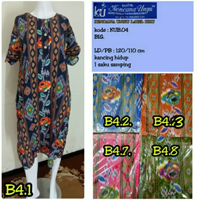 Daster Batik Kencana Ungu 04 Asli Label Biru 3 Kancing Lengan Pendek ... de1b22cf2d