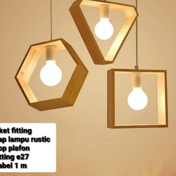 7u Paket Fitting Kap Lampu Gantung Rustic Kayu Jati Belanda Minimalis Dekorasi Cafe Shopee Indonesia