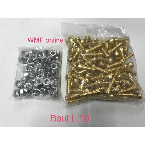 Baut L 10x200mm Gold + Mur Silver / Baut Body 1pack 100set | Shopee Indonesia