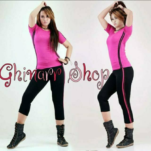 [Ghinarr Shop] Setelan baju senam aerobic | yovis | fitness | yoga | gym | zumba | stelan olahraga | | Shopee Indonesia