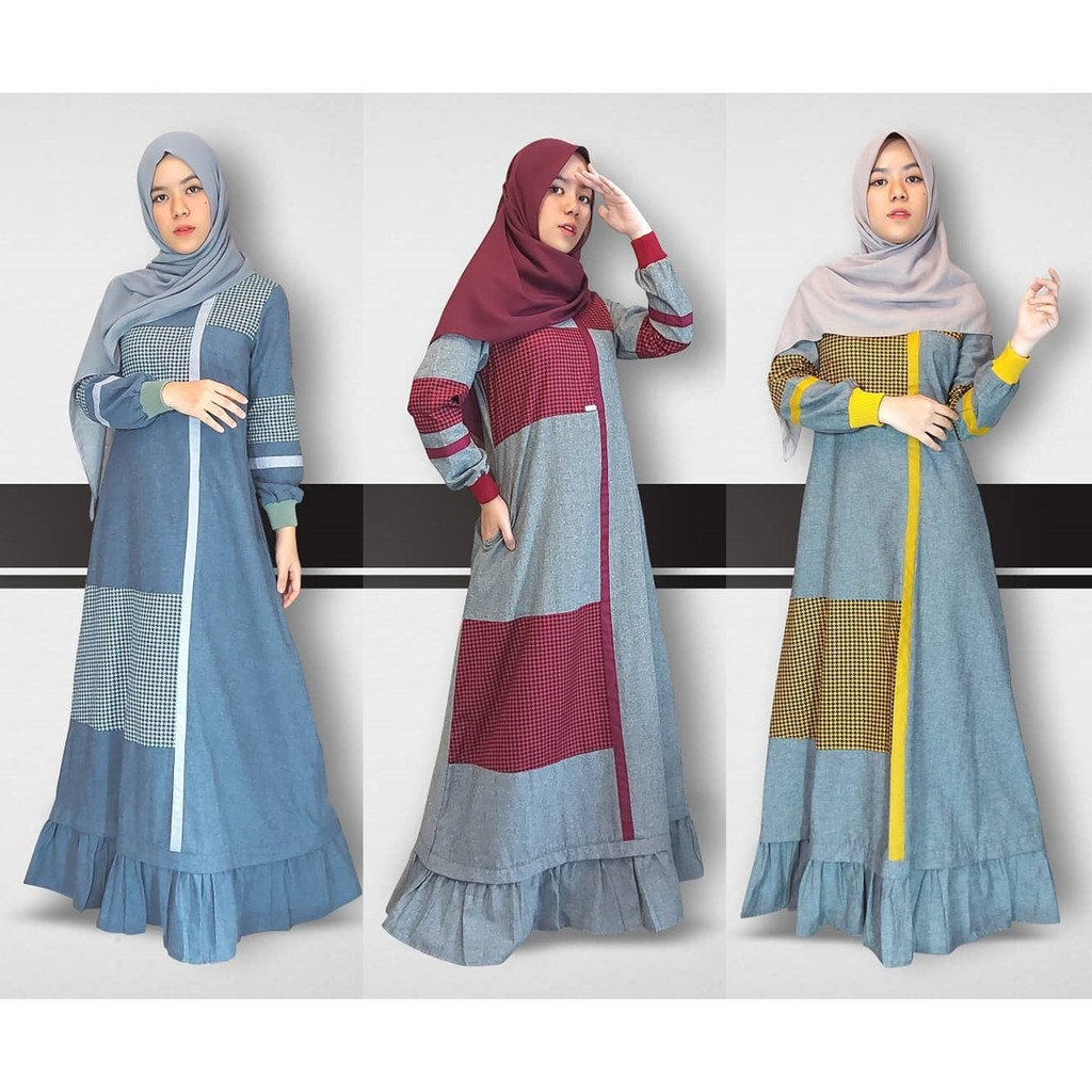 Adilla Dress by Zalifa Exclusive Collection - Baju Muslim Wanita - Gamis