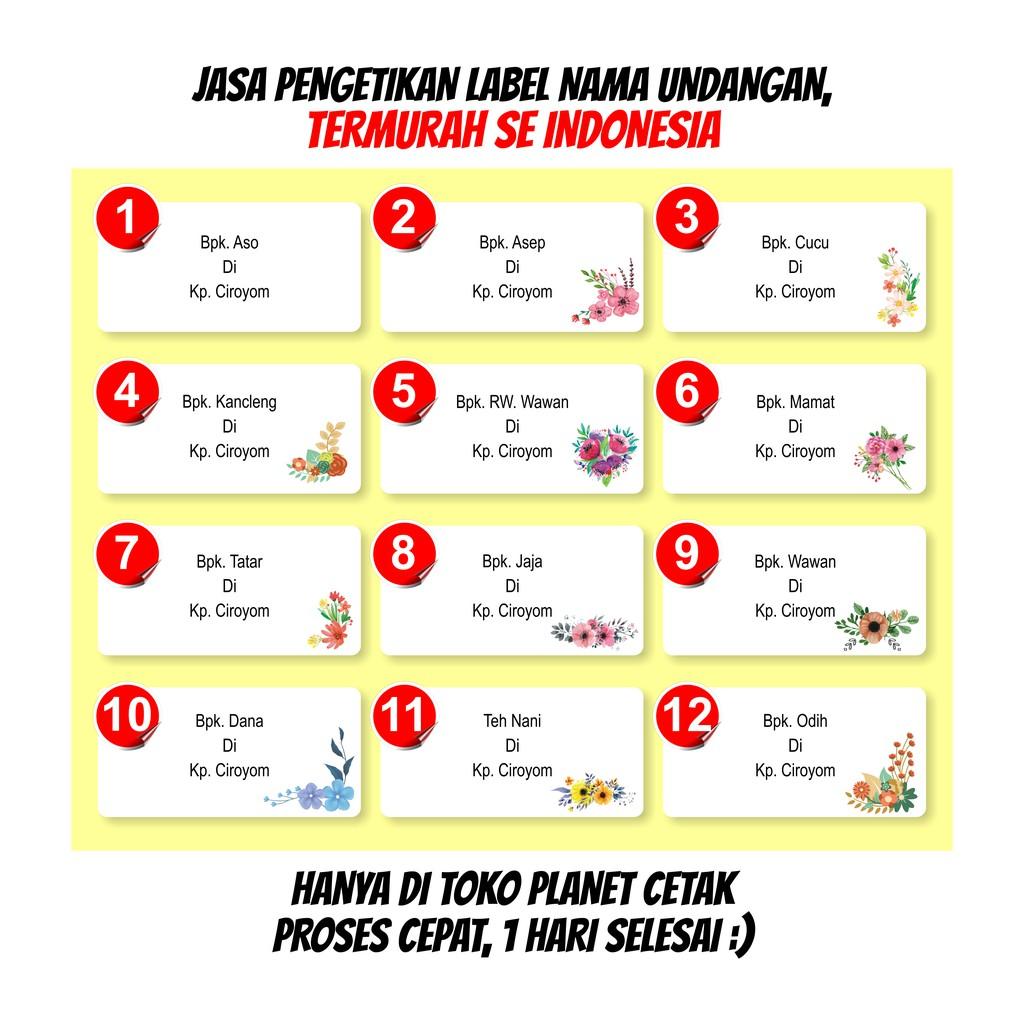 Jasa Print Label Nama Undangan Pernikahan 103 Motif