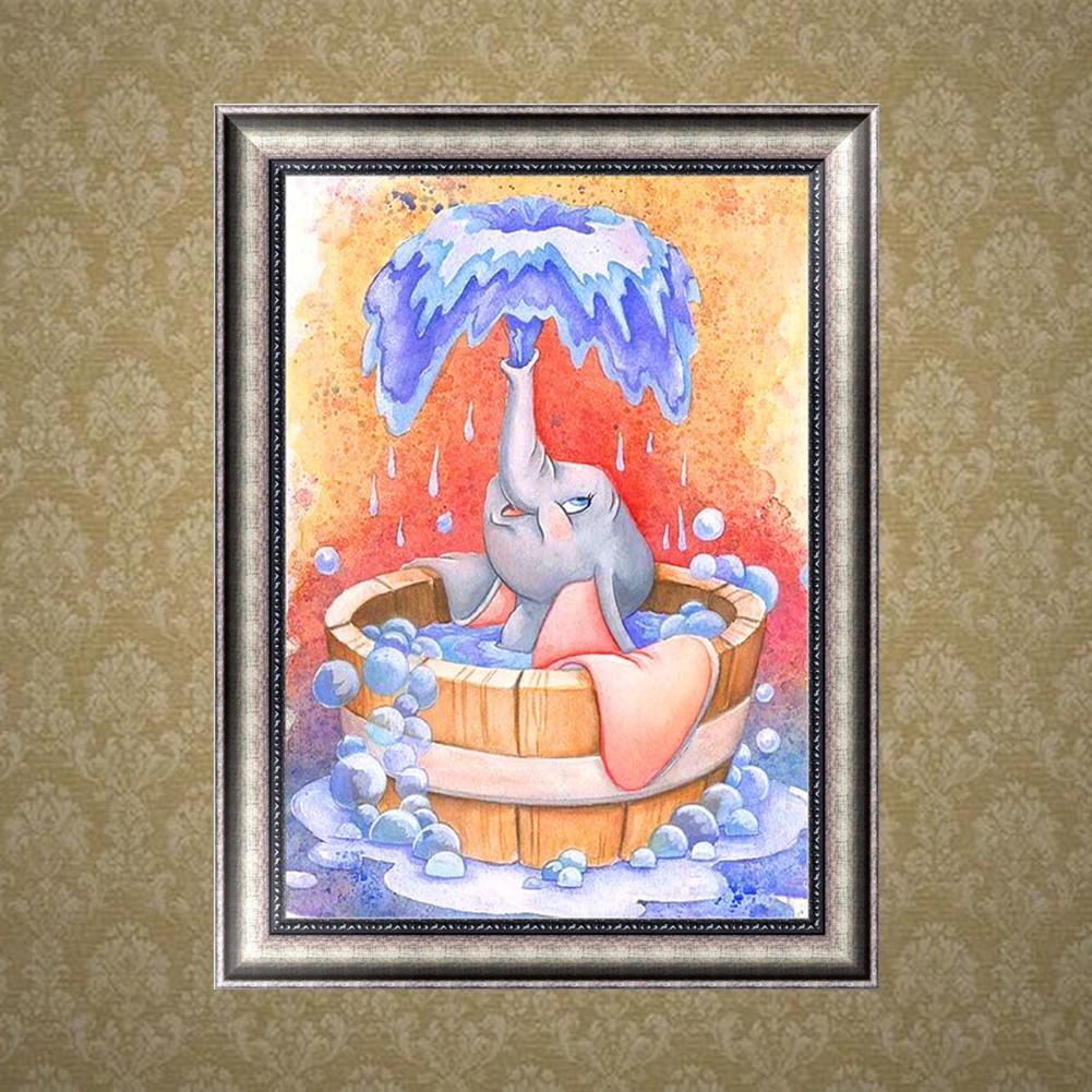 DIY Lukisan Diamond 5D Dengan Gambar Gajah Dan Hiasan Berlian Buatan
