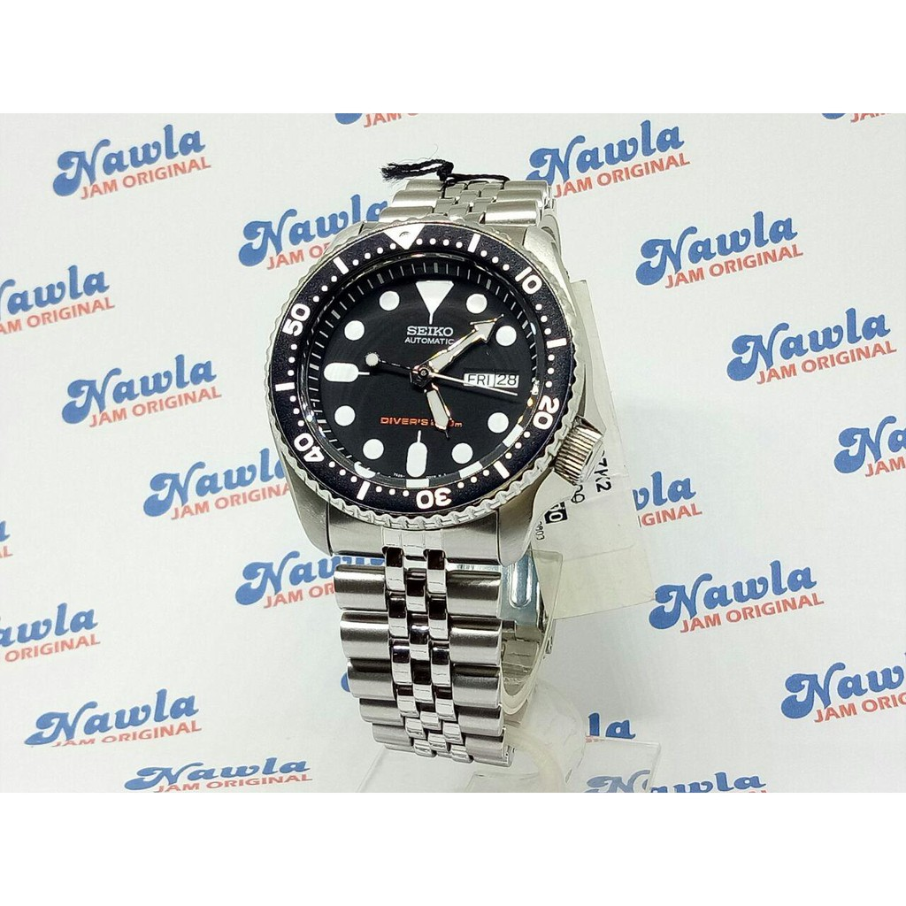 Seiko 5 Snkl55k1 Automatic Black Dial Jam Tangan Pria Snkl55 Kinetic Diver Hitam Strap Stainless Steel