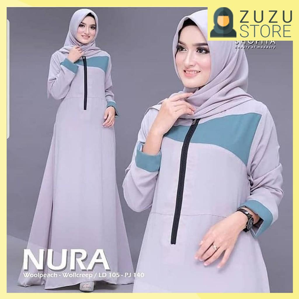 Baju Gamis Muslim Wanita Terbaru Nura Dress Termurah