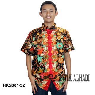 Kemeja Batik Katun Pria, Batik Kerja Kantor Lengan Pendek (HKS001-32) Batik