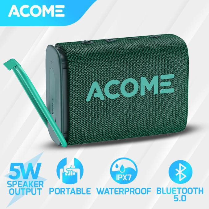 ACOME Outdoor Extreme Sports Bluetooth Speaker 5W IPX7 Waterproof A7 - Green