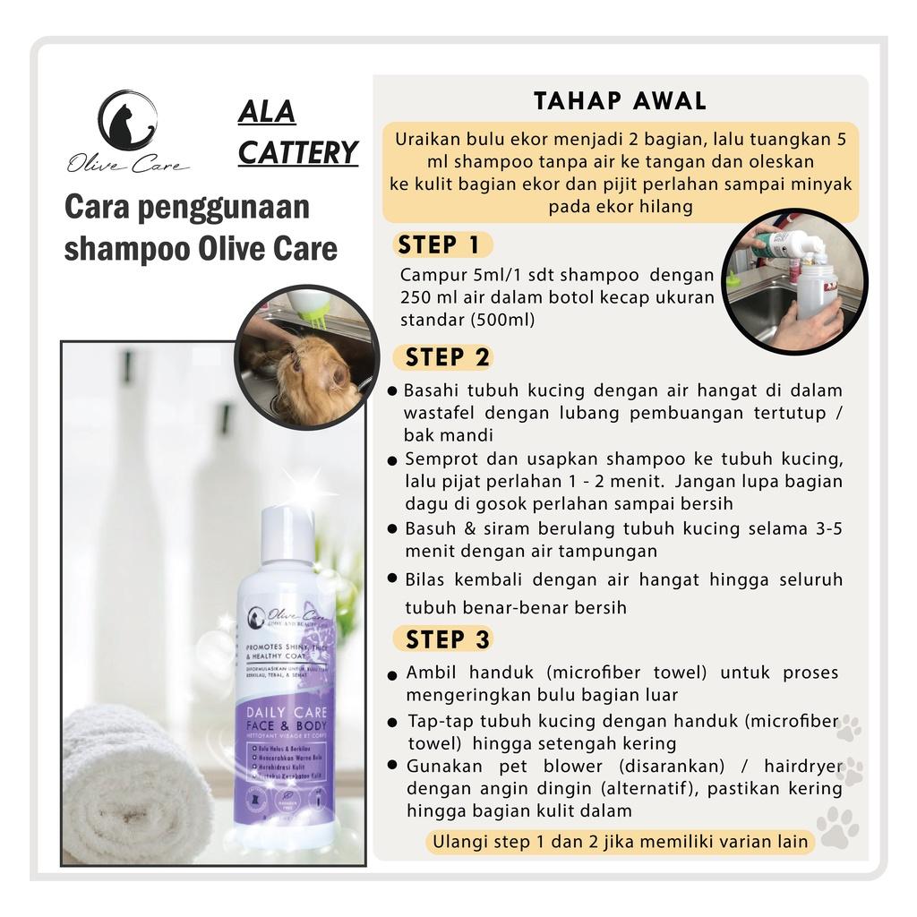 Olive Care Shampo Kucing Daily Care FACE & BODY - Bebas Noda & Cerahkan Warna Bulu-2