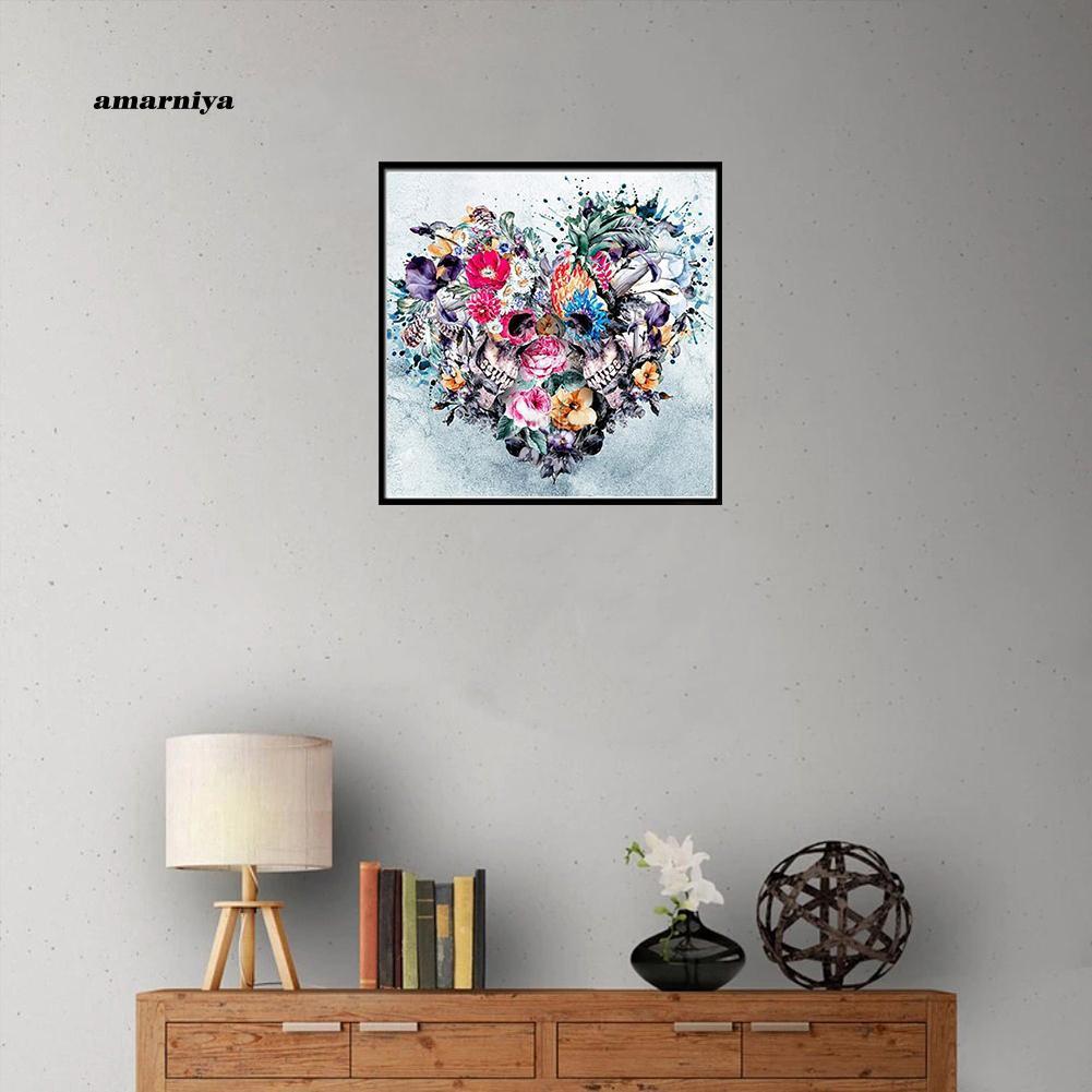 Arny Punk DIY Lukisan Diamond 5D Dengan Gambar Tengkorak Dan Bunga Untuk Hiasan Dinding