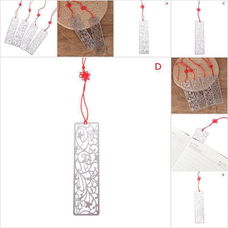 Fof 1pc Pembatas Buku Desain Bunga Hollow Bahan Metal Untuk Hadiah