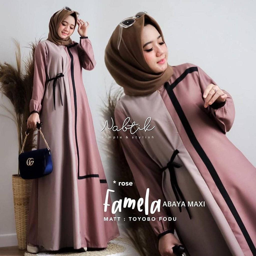 Gamis Terbaru 8 Modern Famela Dress - Gamis Terbaru 8 Modern Remaja -  OOTD hijab style Remaja