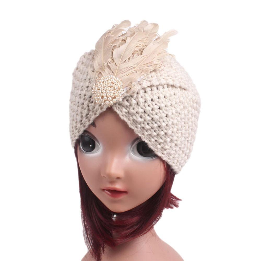 Baby Girls Knitting Hat Beanie Turban Head Wrap Cap Pile Cap New Baby Cap