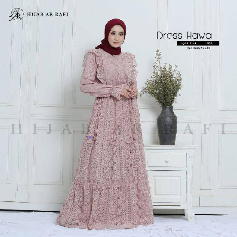 Gamis Brukat Dress Hawa Ar Rafi Hijab Gratis Jilbab Ar 418 Shopee Indonesia