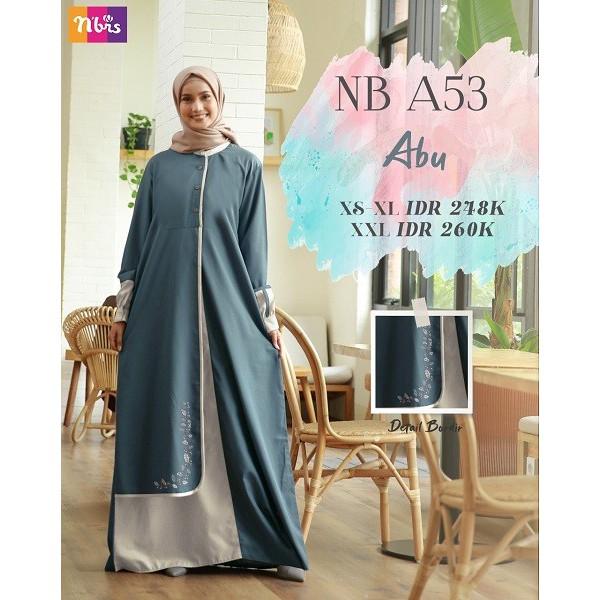 Gamis Nibras Nb A53 Abu Gamis Muslim Dewasa Gamis Nibras Terbaru Shopee Indonesia